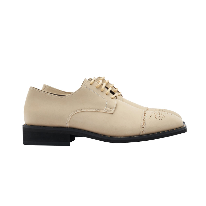 Gullar ladies horizontal carved derby-vegetarian leather shoes
