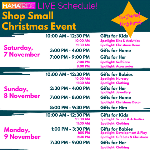 Mama Tribes Shop Small Christmas Event schedule list