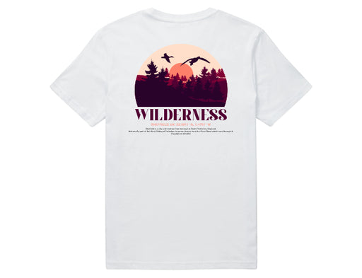 A white short sleeve 100% organic cotton t-shirt with a back print of a Wilderness design and a description of Sheffield's coordinates