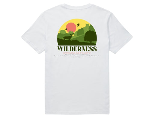 A white short sleeve 100% organic cotton t-shirt with a back print of a Wilderness design and a description of Nottingham's coordinates