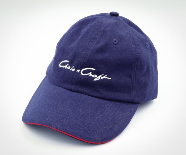 Chris-Craft Post-War Adjustable Ball Cap Navy Blue with White Script and Red Brim