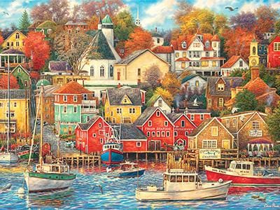 CLASSIC BOAT JIGSAW PUZZLE - Good Times Harbor - By Chuck Pinson - 1000 PCS