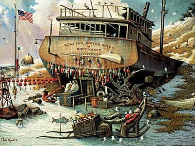 CLASSIC BOAT JIGSAW PUZZLE - Where the Buoys Are - By Charles Wysocki - 1000 PCS