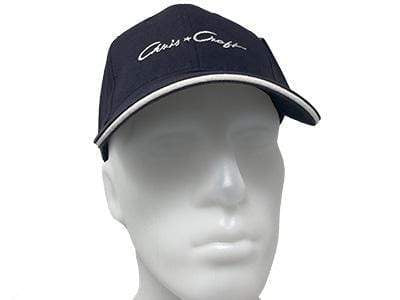Wooden Boat Hat for Sale - Chris-Craft Post-War Ball Cap Navy Blue with White Script and White Brim
