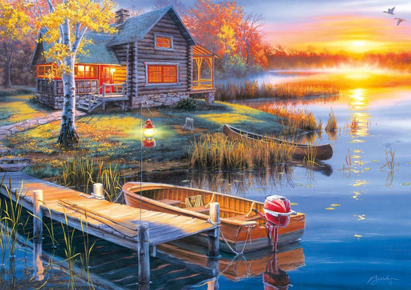 Classic Wooden Boat Accessories for Sale - CLASSIC BOAT JIGSAW PUZZLE - AUTUMN AT THE LAKE - By Darrell Bush - 300 PCS