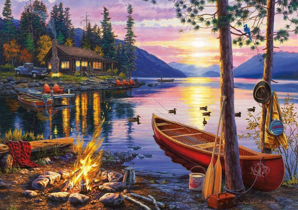 Classic Wooden Boat Accessories for Sale - CLASSIC BOAT JIGSAW PUZZLE - CANOE LAKE - By Darrell Bush - 300 PCS