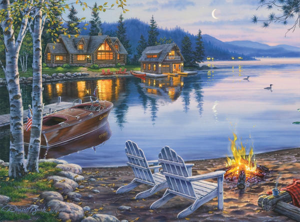 Classic Wooden Boat Accessories for Sale - CLASSIC BOAT JIGSAW PUZZLE - LAKE REFLECTION - By Darrell Bush - 1000 PCS