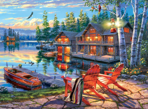 Classic Wooden Boat Accessories for Sale - CLASSIC BOAT JIGSAW PUZZLE - LOON LAKE - By Darrell Bush - 1000 PCS
