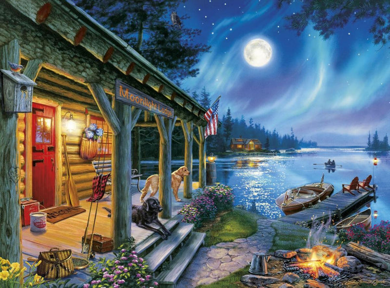 Classic Wooden Boat Accessories for Sale - CLASSIC BOAT JIGSAW PUZZLE - MOONLIGHT LODGE - By Darrell Bush - 1000 PCS