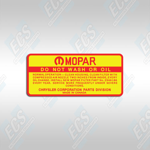 1969-71 Mopar: Air Cleaner Element Instruction Decal