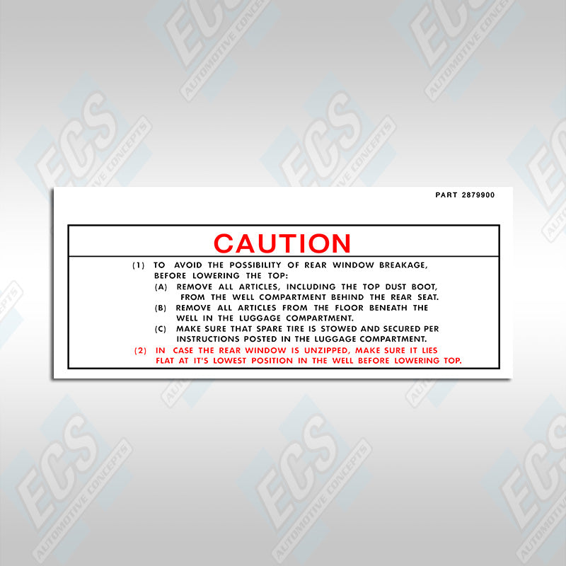 Chrysler Convertible Caution Decal