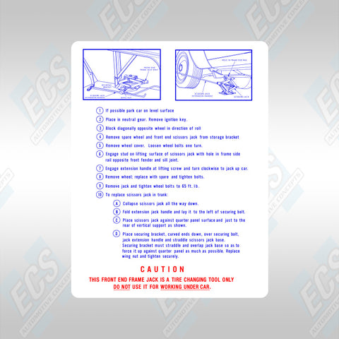 1967-74 Mopar: Jacking Instruction Decal (Multiple Options!)