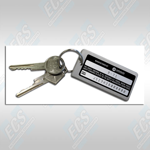 Dodge/Plymouth Custom Car Metal Key Tags (Specific Date & Actual VIN Number on Minature VIN)