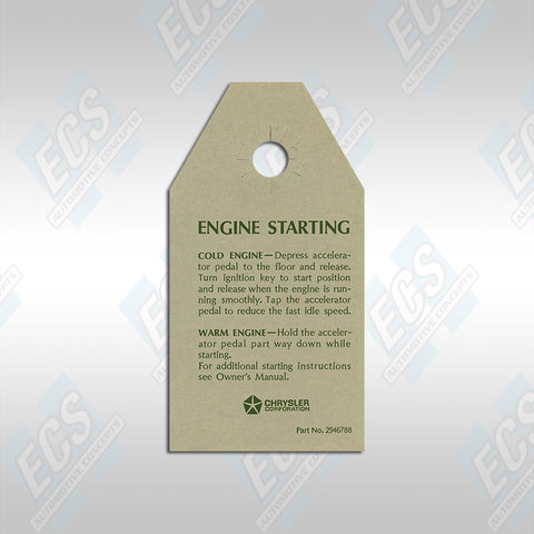 1970-71 Mopar: Engine Starting Instructions Card