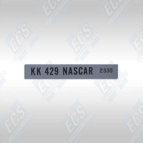 1969-70 Boss 429 Mustang: KK NASCAR Production Number Decal