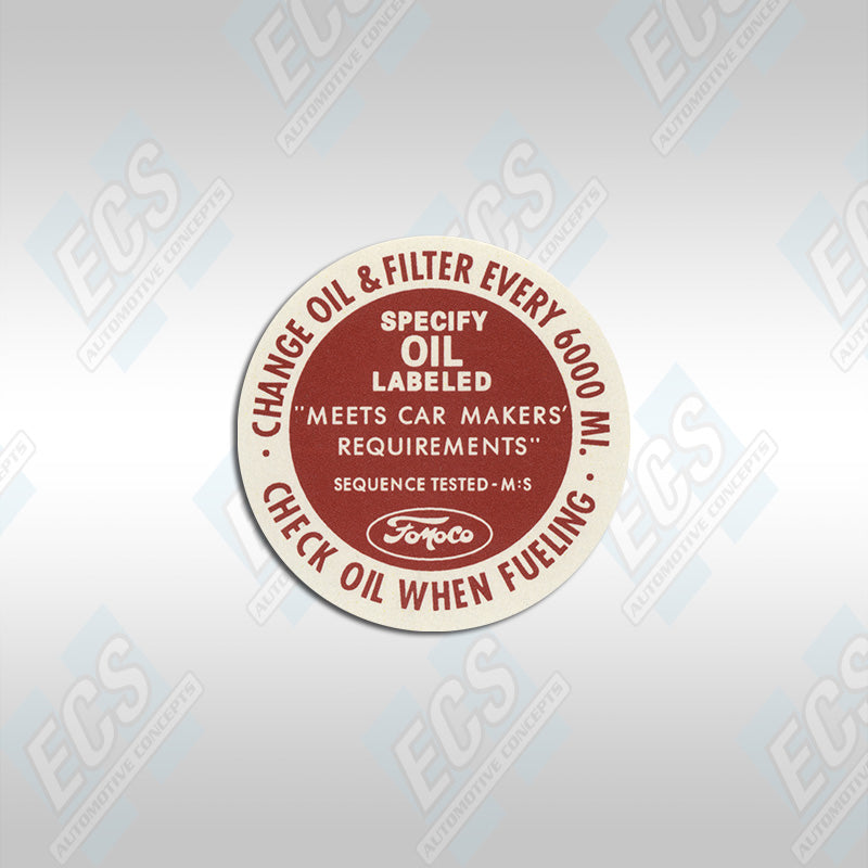 1963-66 Ford: Oil Breather Cap Decal
