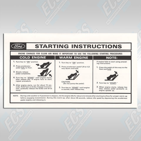 1964-73 Mustang: Visor Starting Instructions Sleeve (Multiple Options!)