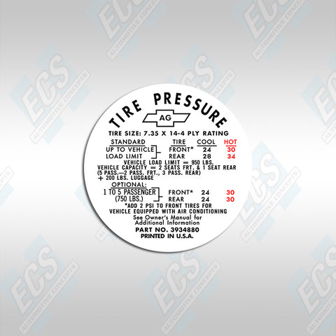GM Tire Pressure Decal (Multiple Options!)