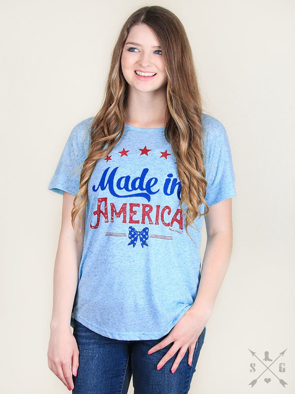 MADE IN AMERICA HEATHERED BLUE TEE WITH BOW BACK DETAIL-3385C
