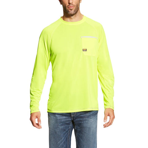 MENS ARIAT LS REBAR SUNSTOPPER REFLECTIVE SHIRT/YELLOW-10019136