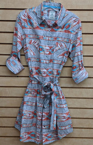 LADIES PANHANDLE ROUGHSTOCK LS DRESS/GREY AZTEC-R4O9405