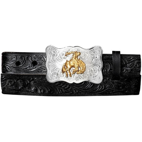 YOUTH JUSTIN BLACK EMBOSSED BELT-0189C
