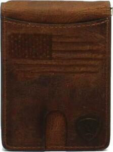 MEN'S ARIAT MONEY CLIP BIFOLD/DISTRESSED USA FLAG-A3546002