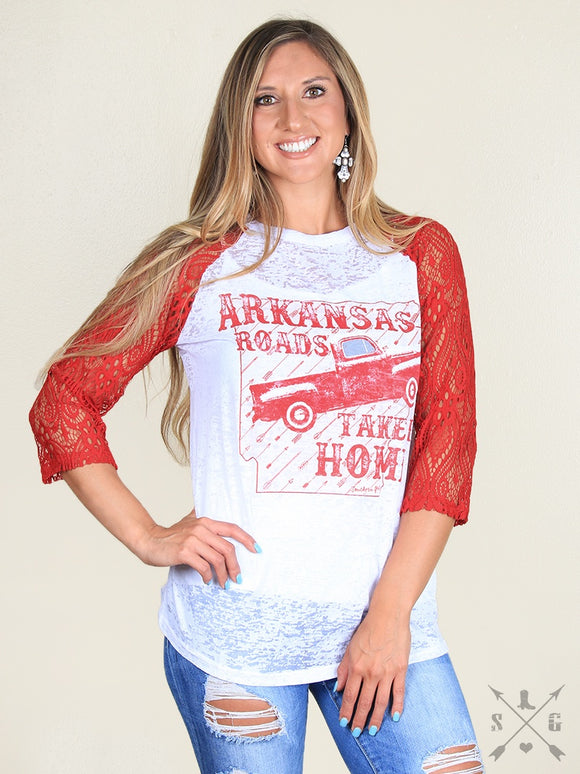 ARKANSAS ROADS TAKE ME HOME RAGLAN-3119C