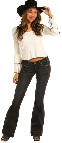 LADIES ROCK & ROLL COWGIRL TROUSER LOW RISE EXTRA STRETCH JEANS/BLACK-W8-3441