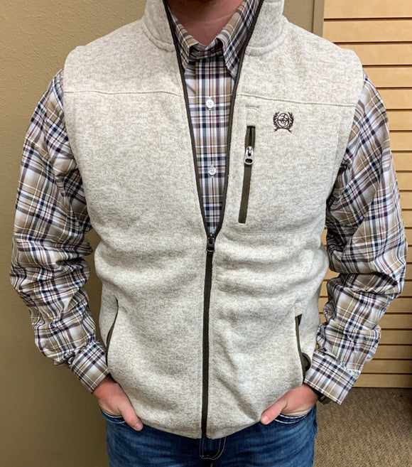 MEN'S CINCH SWEATER VEST WITH ZIPPER/HEATHER CREAM-MWV1225006