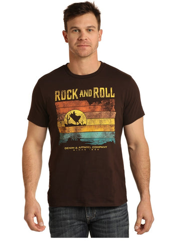 MEN'S ROCK & ROLL COWBOY BULL RIDER GRAPHIC T-SHIRT/BROWN-P9-3002