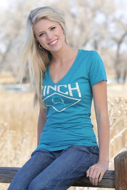 LADIES CINCH V-NECK LOGO T-SHIRT/HEATHER BLUE-MST7800001