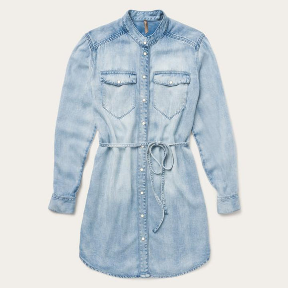 LADIES STETSON LONG SLEEVE DENIM SHIRT DRESS/BLUE-11-057-0565-7029BU