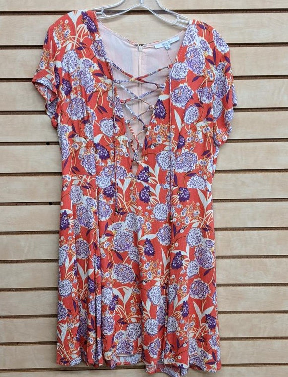 LADIES MISS ME LACE UP FLORAL DRESS/MULTI RED-MDD373S