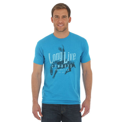 "MENS WRANGLER ""LONG LIVE COWBOYS"" T-SHIRT/BLUE-MQ1108B"