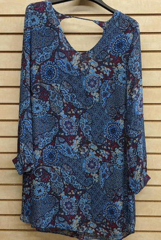 LADIES ROPER PAISLEY DRESS/BLUE-3575907063