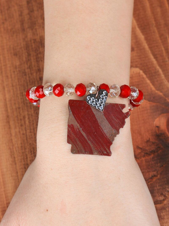 LADIES HEART OF ARKANSAS RED BRACELET IN COPPER-BR243386RD
