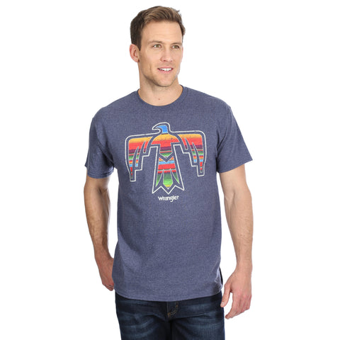 MENS WRANGLER AZTEC THUNDERBIRD T-SHIRT/DENIM HEATHER-MQ4111N