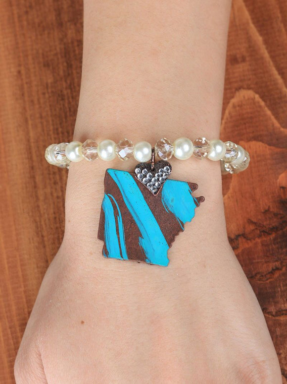 LADIES HEART OF ARKANSAS TURQUOISE BRACELET IN COPPER-BR243386TQ