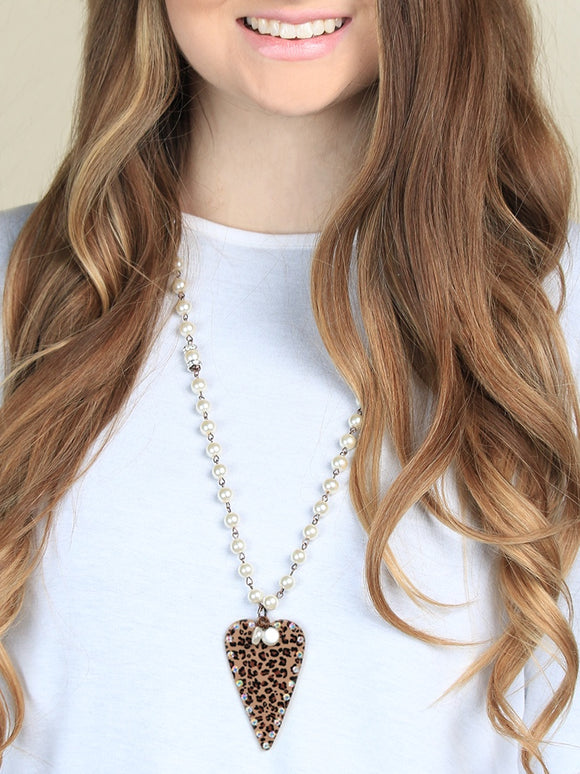 LADIES STUDDED HEART NECKLACE WITH LEOPARD BACKPRINT-ND243413LEO