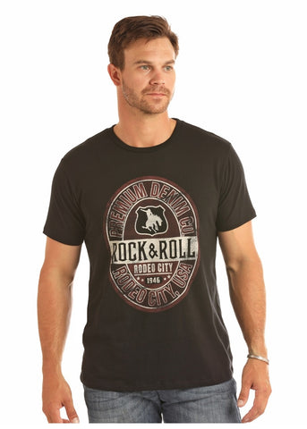 "MENS ROCK & ROLL COWBOY ""RODEO CITY"" T-SHIRT/BLACK-P9-1087"
