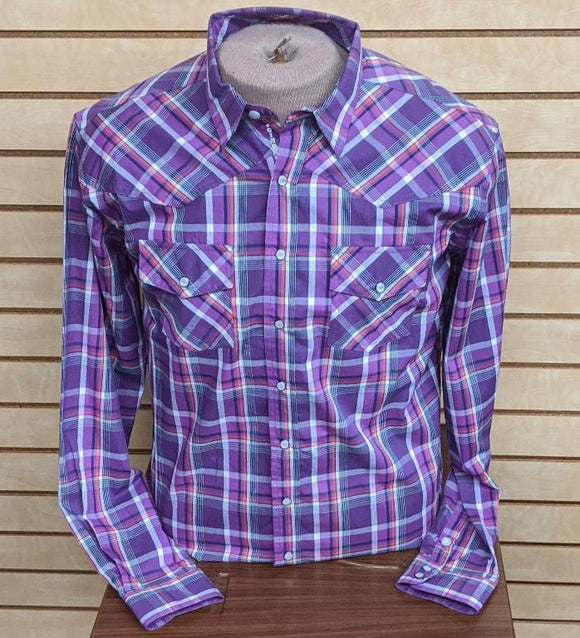 BOYS CINCH PLAID LS SNAP/PURPLE-MTW7020044