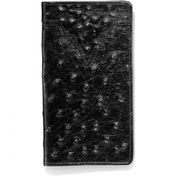 SILVER CREEK OSTRICH PRINT CHECKBOOK WALLET/BLACK-06233