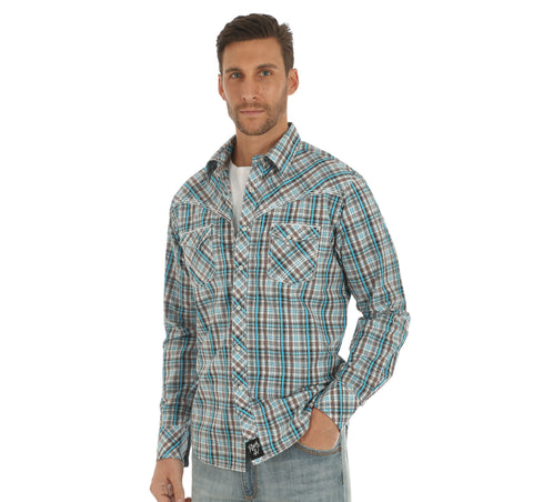 MENS ROCK 47 L/S SHIRT/BLUE PLAID--MRC356M