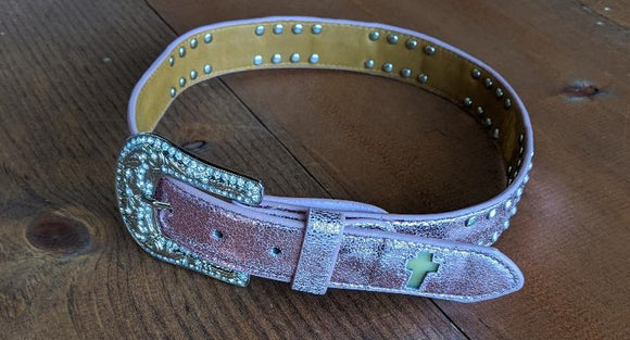 YOUTH 3D ANGEL RANCH CROSS LIGHT UP BELT/PINK-5129