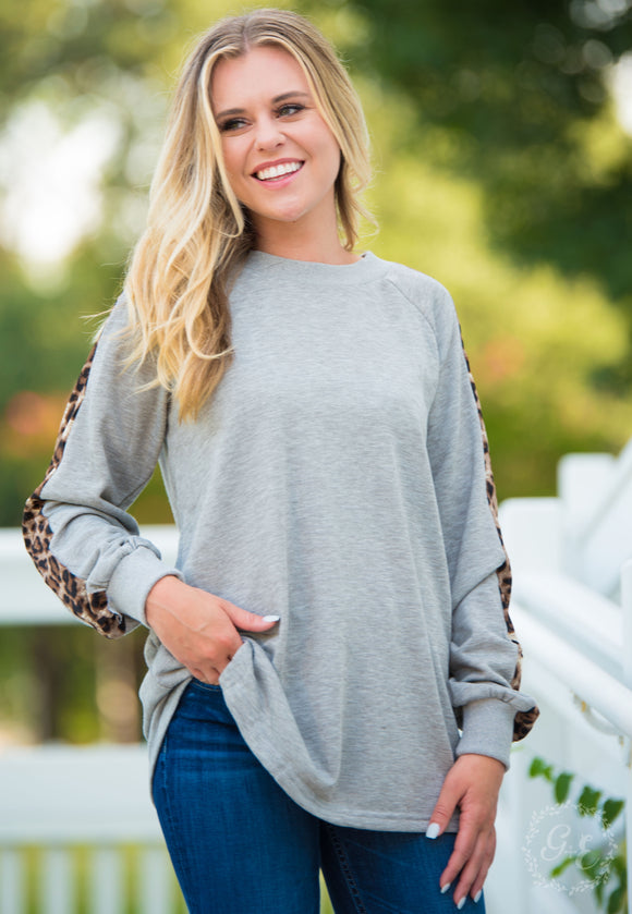 YOGA & THEN BRUNCH PULLOVER SWEATSHIRT WITH LEOPARD INSET-6203E