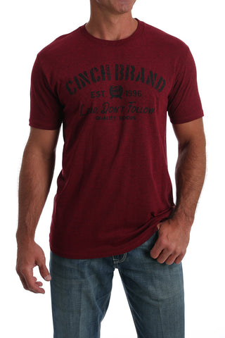 "MEN'S CINCH ""LEAD, DON'T FOLLOW"" T-SHIRT/RED-MTT1690403"