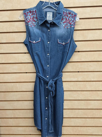 LADIES PANHANDLE SLIM SLEEVELESS DRESS/DENIM-RS0713S