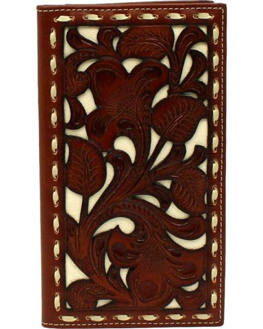 Nocona Brown/Ivory Tooled Wallet-N5410108