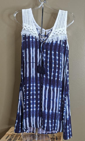LADIES MISS ME SLEEVELESS DRESS/NAVY/WHITE-MDD366T